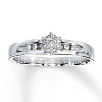 Diamond Engagement Ring 1/10 ct tw Round-cut 10K White Gold