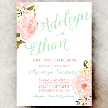 Mint Green Coral Wedding Invitation - Floral wedding invitation, roses invitation, printable wedding invitation