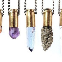 PYTHIA rutilated quartz crystal bullet necklace