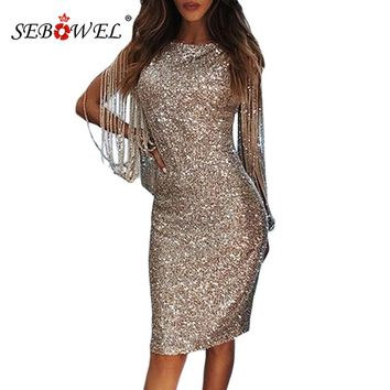 SEBOWEL Silver Hollow Out Long Sleeve Sequin Party Dress Women Sexy Metallic Glitter Bodycon Club Midi Dresses Sequined Gowns