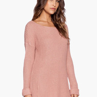 Pink Knitted Long Back Sweatshirt