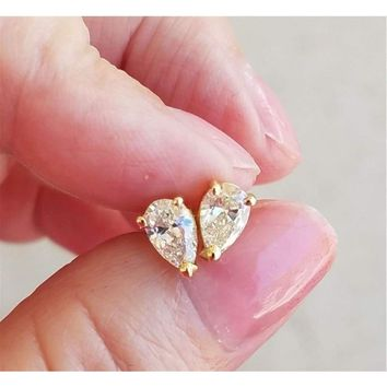 Luxinelle 1 Carat Pear Shaped Diamond Stud Earrings - 14K Yellow Gold Tear Drop Diamonds