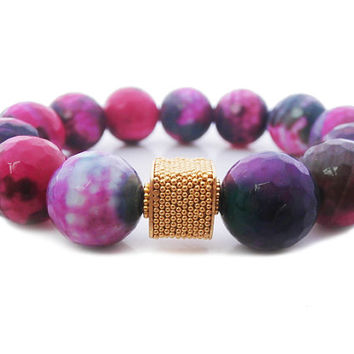 Multi-Colored Faceted Onyx Gemstones and Gold Vermeil Bali Bead Bracelet, Faceted Purple and Pink Flecked Onyx Beads Gold Vermeil Bracelet