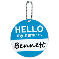 Bennett Hello My Name Is Round ID Card Luggage Tag