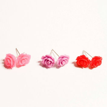 Rose earrings flower girl stud post 3 set  pink lilac purple and red cabochon spring jewelry