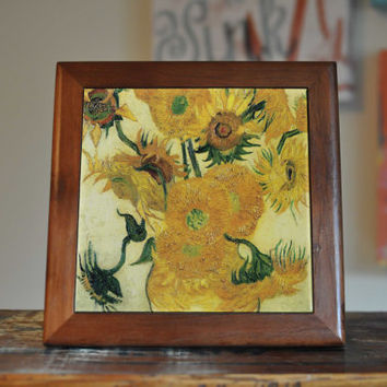 Van Gogh Sunflowers Ceramic Tile Coaster Set Artwork Trivet Hot Plate Pot Stand Plant Splashback Kitchen Decor Tile Interior Tile Coasters