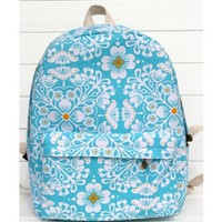 CrazyPomelo Sky Blue Retro FLower Backpack