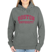 Boston University Ladies Distressed Secondary Pullover Hoodie - Gunmetal