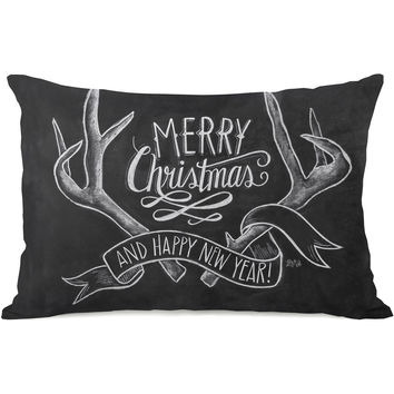 """Merry Christmas Antlers"" Indoor Throw Pillow by Lily & Val, 14""x20"""