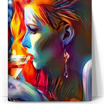 Beauty and shampagne, sexy redhead girl acrylic paint, abstract, colorful artwork canvas art print