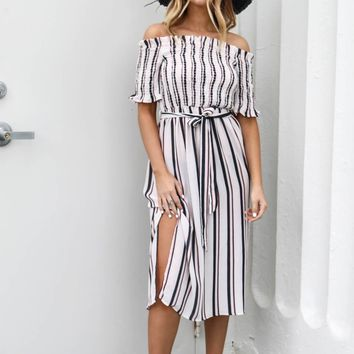 Best Ever Ivory & Black Striped Midi Dress