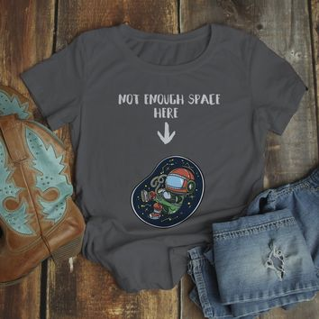 Women's Funny Pregnancy T Shirt Not Enough Space Shirt Baby Announcement Idea Graphic Tee