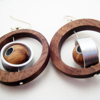 Wood Earrings Unique OOAK Handmade Modern Wood by RamshackleStudio