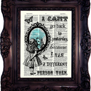 ALICE in Wonderland Art Print Alice in Wonderland Decor Alice in Wonderland Decoration Alice in Wonderland Quote Mad Hatter Party C:628