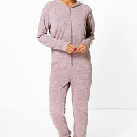 Ella Knitted Zip Front Hooded Onesuit | Boohoo