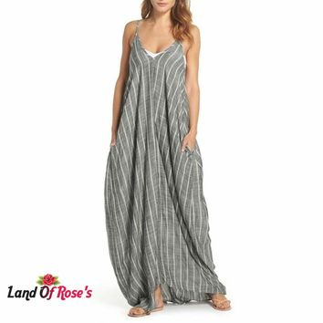 Plus Size  Sexy V Neck Backless Striped Sarafans Long Maxi Tank Dresses Vintage Casual Loose Vestidos