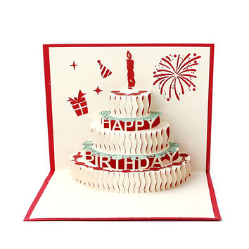 3D Pop Up Paper Laser Cut Greeting Cards Creative Handmade Cake Birthday Postcards for Lover Thank You Cards