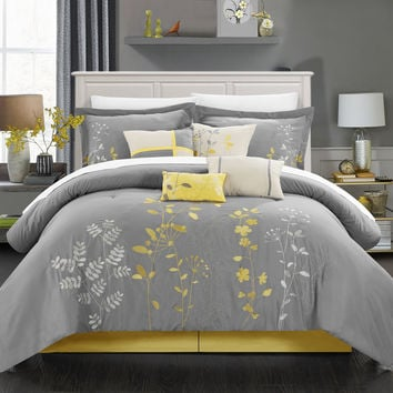 Chic Home 12-Piece Brooke Embroidered Comforter Set, King, Turquoise, with 4 Piece White Sheet Set