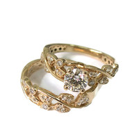 14K Gold Diamond Engagement Ring Set – Gold Leaf Design - Wedding