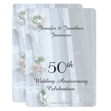 50th Wedding Anniversary Party, Vintage Lace Card