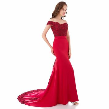 Vicky Woman Elegant off Shoulder Long Lace Rot Mermaid Evening Dress with Chapel Train Sleeveless Abendkleid Prom Partykleider