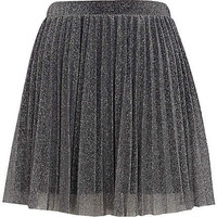 Silver metallic pleated skater skirt