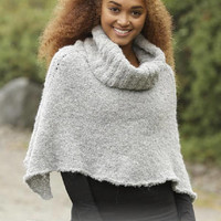 Women Poncho turtle neck poncho crop top knitted handknit winter poncho grey black pink white alpaca wool CHOOSE YOUR COLOR Drops Lilith
