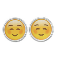 White Smiling Face Emoji Cufflinks