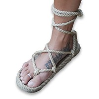 Romano style rope sandal in camel color