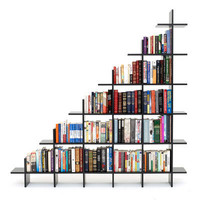 4' Wide 2-Tier Bookshelf Black Bookshelf by Smart Furniture