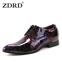 ZDRD 2018 Mens italian Microfiber Leather shoes fashion Formal oxford shoes for men Brogue Man Office Party Dress Wedding Shoes