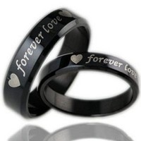 "Bystar Fashion Jewelry Black ""Forever Love"" Double Heart Stainless Steel Promise Couple Ring"