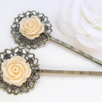 Ivory rose bobby pins with antique bronze filigree
