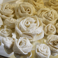 "20 Light Burlap Flowers for weddings, bouquet making, wedding decor, scrapbooking, gifts, crafts ""READY TO SHIP"""