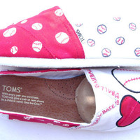 The Baller  Red and White Custom TOMS by FruitfulFeet on Etsy