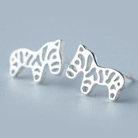 womens girls cute zebra earrings 925 silver + free gift box + free shipping 15