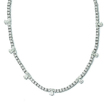 Sterling Silver Polished Fancy CZ Necklace QCM923