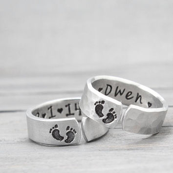 Mother Ring, Hand Stamped Jewelry,  Baby Feet Ring, Gifts for Mom, New Baby Jewelry, Personalized EJwelry, Hand Stamped