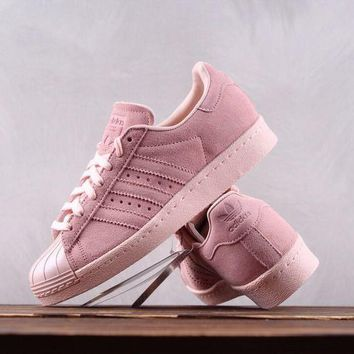DCCK A050 Adidas Superstar 80s Metal Toe Suede Causal Skate Shoes Pink