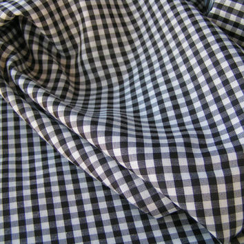 Polyester Silk, Black and White checkerboard Cotton Blend Fabric, Crafting Projects, Quilting and Clothing.