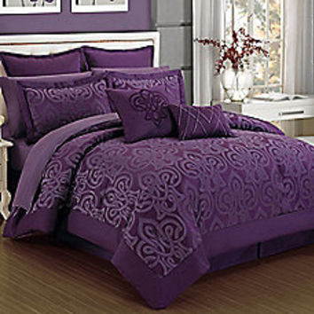 Curtis Damask 12-Piece Comforter Set in Plum