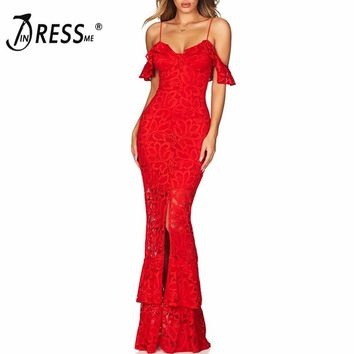 INDRESSME New Women Fashion Sexy Off The Shoulder Strap Long Lace Bandage Dress Red Party Slit Fishtail Gown Vestidos 2018