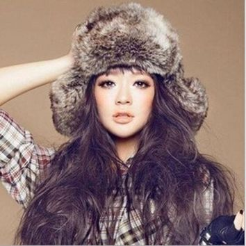 LMFUG3 Faux Fur Russian Trapper Hat Womens Mens Ear Warm Winter Beret Cap Earflap Hat = 1932534340