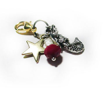 Stylish Pet Jewelry with Mermaid, Star & Red Faceted Glass Bead, Skull + Pearl - Cat Collar Charm - Dog Bling - Pet Fashion