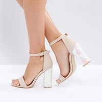 Truffle Collection Sequin Block Heel Sandals at asos.com