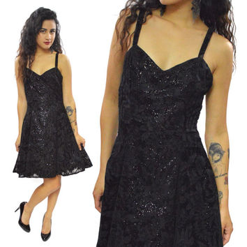 Vintage 80s Jump Apparel Co. Shiny Evening Cocktail Spaghetti Straps Dress