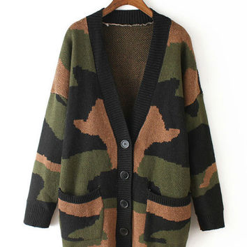 Camouflage V-Neck Single-breasted Knitted Cardigan with Pocket