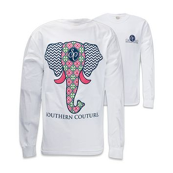 Southern Couture Preppy Elephant Chevron Pattern Comfort Colors White Girlie Long Sleeve Bright T Shirt