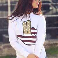 Txst Hand Sign Maroon & Gold Long Sleeve - White