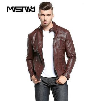 Spring Autumn PU Leather jacket Men Casual Slim Fit Male Leather Jacket Coat